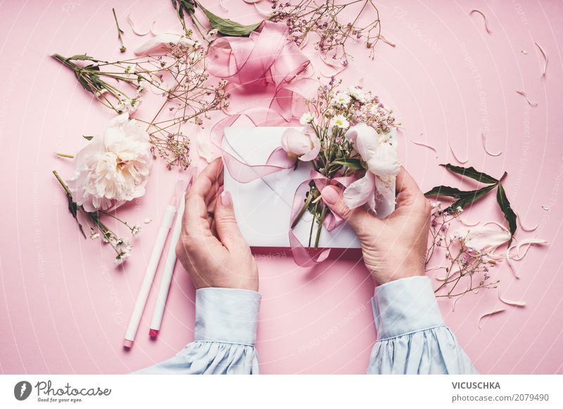 Female hands make beautiful greeting card with flowers Lifestyle Style Design Leisure and hobbies Decoration Feasts & Celebrations Valentine's Day Mother's Day