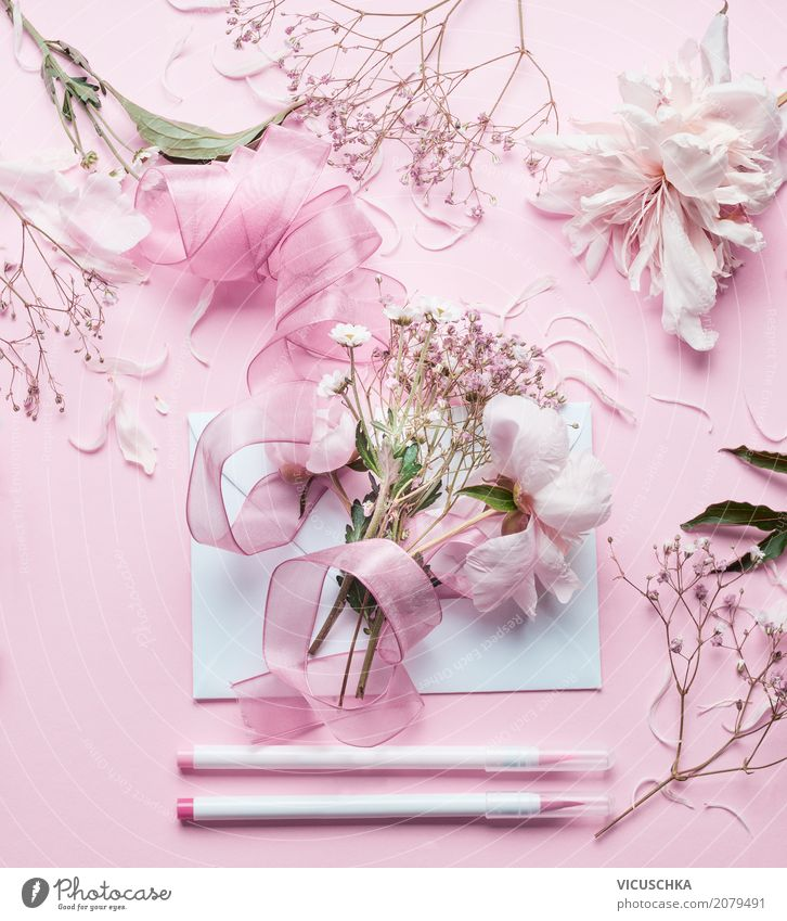 Beautiful flowers, envelope, bow and markers Lifestyle Style Design Leisure and hobbies Feasts & Celebrations Valentine's Day Mother's Day Wedding Birthday