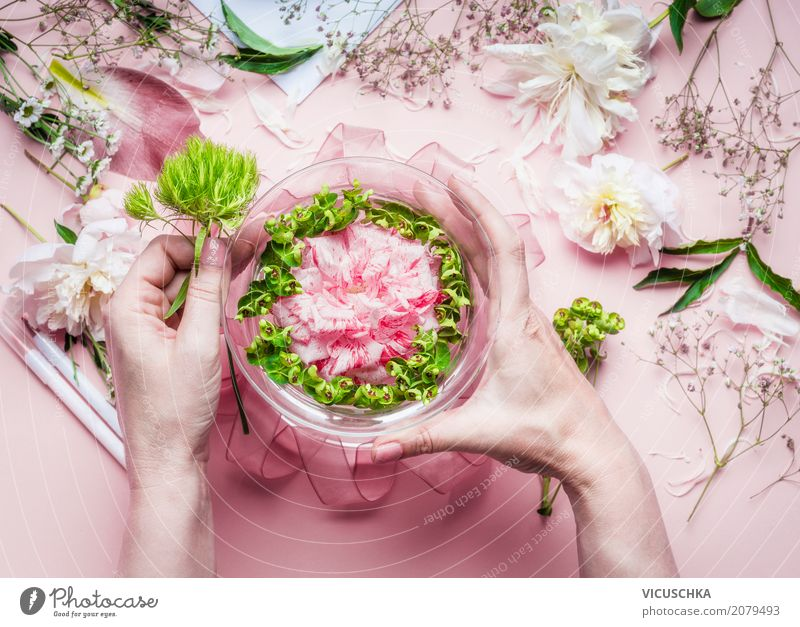 Human being Woman Nature Plant Hand Flower Leaf Adults Lifestyle Blossom Interior design Feminine Style Feasts & Celebrations Pink Design