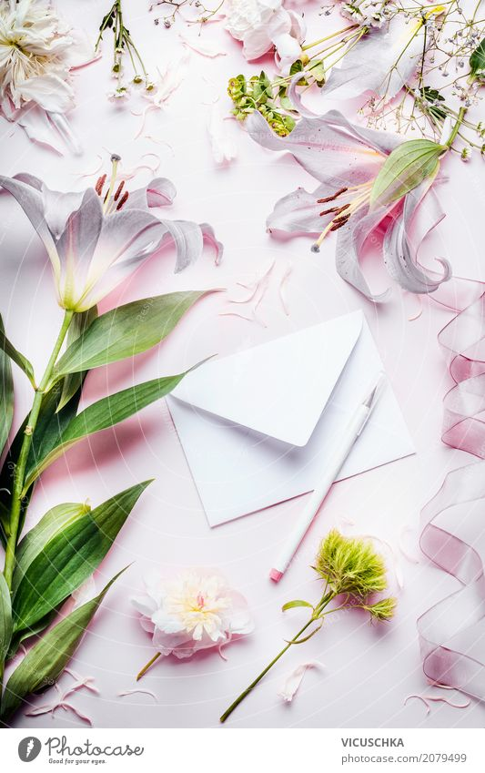 Beautiful flowers with envelope and pencil Lifestyle Style Design Decoration Feasts & Celebrations Valentine's Day Mother's Day Wedding Birthday Plant Flower