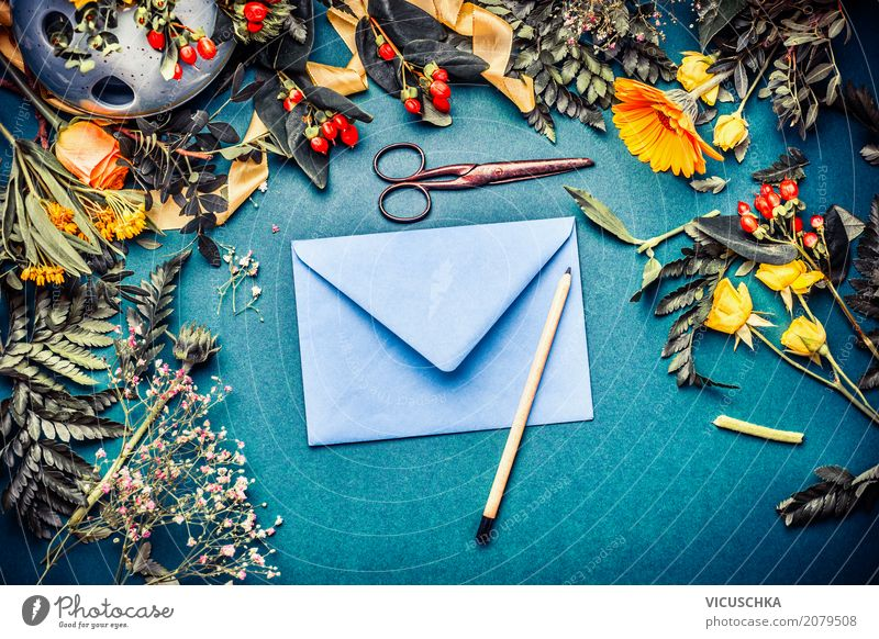 Envelope with flowers and pencil Lifestyle Style Design Feasts & Celebrations Nature Plant Autumn Flower Blossom Decoration Bouquet Hip & trendy Retro