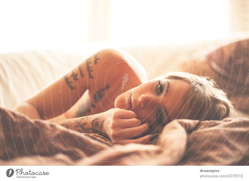 wake up in the sunshine Feminine Young woman Youth (Young adults) Body Skin Hair and hairstyles Mouth Lips 1 Human being 18 - 30 years Adults Tattoo Brunette