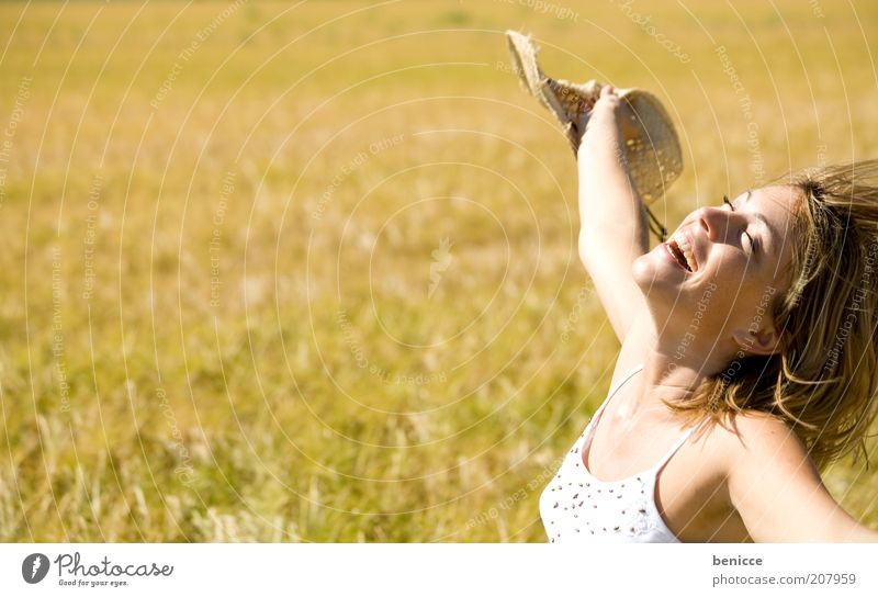 Woman Human being Nature Youth (Young adults) Summer Joy Relaxation Autumn Movement Freedom Laughter Field Blonde Success