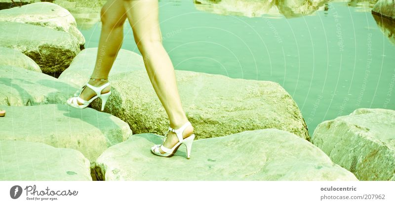 over stick and stone Feminine Young woman Youth (Young adults) Legs 1 Human being 18 - 30 years Adults Water Beautiful weather Brook Stony Offroad High heels