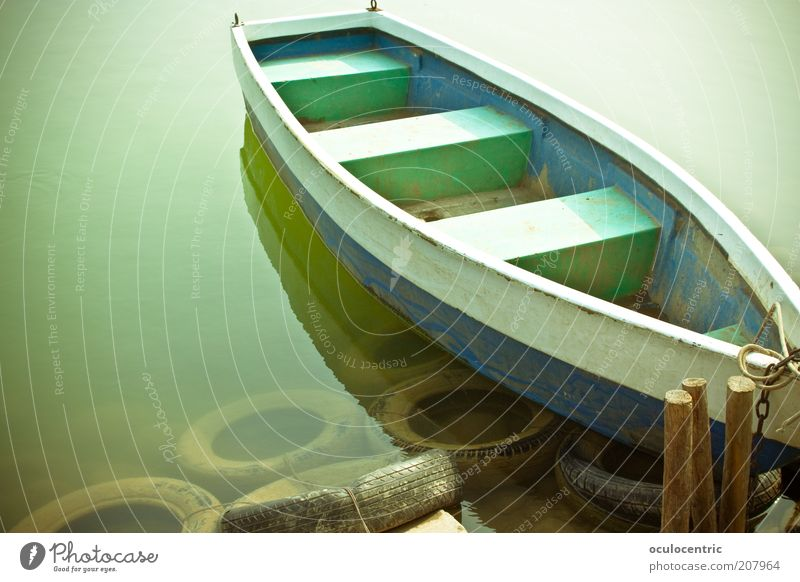 Old Green Blue Wood Lake Watercraft Swimming & Bathing China Navigation Jetty Parking Tire Float in the water Dreary Rowboat Surface of water