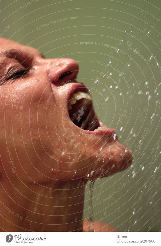 Woman Water Face Adults Eyes Relaxation Head Open Contentment Skin Mouth Wet Nose Fresh Drops of water Cleaning