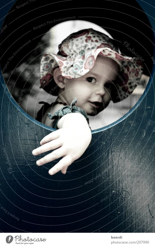 Human being Child Blue Hand Beautiful Girl Summer Joy Window Wood Moody Funny Infancy Cool (slang) Round Curiosity