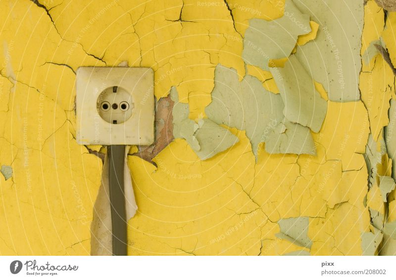 Old Yellow Colour Wall (building) Wall (barrier) Energy Safety Energy industry Dangerous Cable Contact Derelict Decline Destruction Transmission lines Socket