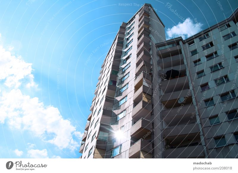Märkisches Viertel Lifestyle Style Sky Clouds House (Residential Structure) High-rise Building Architecture Facade Balcony Esthetic Contrast Trashy Town Poverty