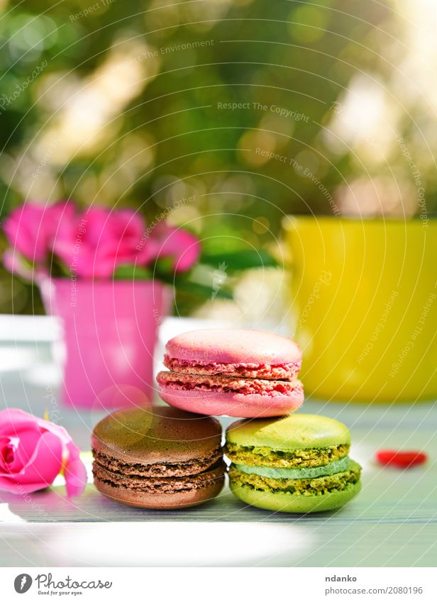 Three multicolored macaroons Food Cake Dessert Cup Table Flower Wood Bright Multicoloured Yellow Green Pink White Macaron biscuit rose Tasty sunny vintage