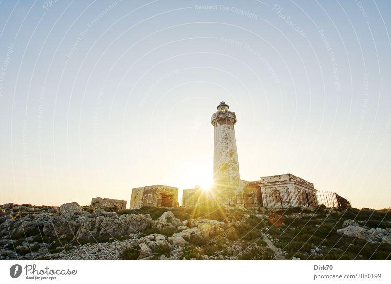Faro di Capo Murro di Porco Vacation & Travel Tourism Nature Landscape Sky Cloudless sky Sun Sunlight Spring Beautiful weather Grass Rock Coast Ocean