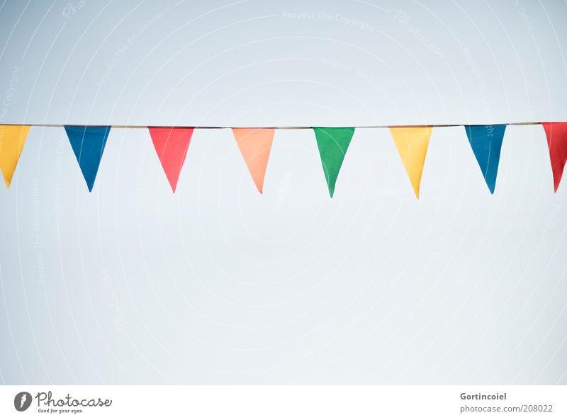 festivity Event Feasts & Celebrations Fairs & Carnivals Multicoloured Paper chain Decoration Festive Summerfest Flag Adornment Colour photo Exterior shot