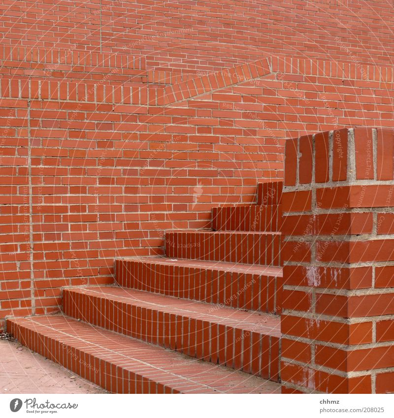 bricks Stairs Craft (trade) Construction site Wall (barrier) Wall (building) Facade Footpath Stone Brick Brown Red Upward Downward Seam Geometry Colour photo