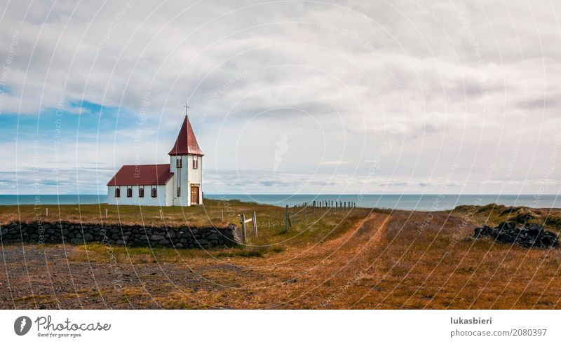 Remote church by the sea in Iceland Environment Nature Landscape Plant Sky Clouds Summer Autumn Grass Field Emotions Moody Power To console Belief Loneliness