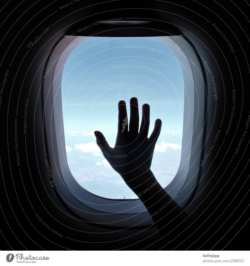 Human being Hand Vacation & Travel Clouds Far-off places Freedom Airplane Flying Transport Fingers Grief Aviation Tourism Observe Longing