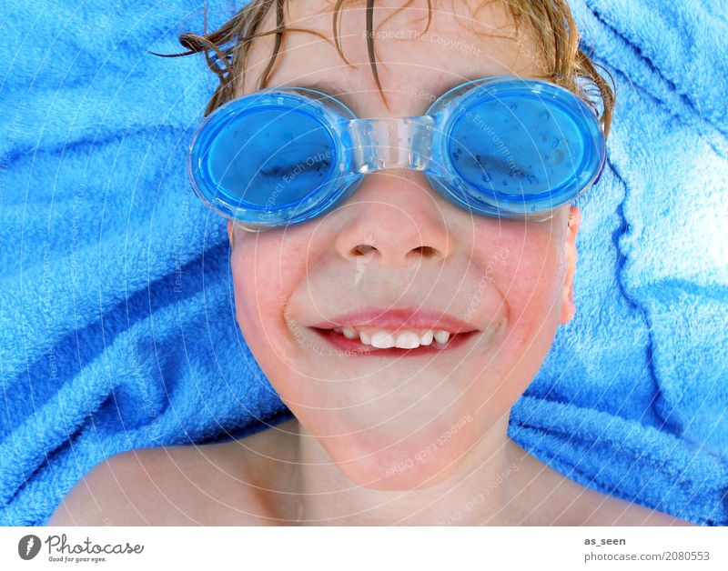 Human being Child Vacation & Travel Blue Summer Colour Joy Face Life Funny Boy (child) Swimming & Bathing Leisure and hobbies Lie Blonde Infancy