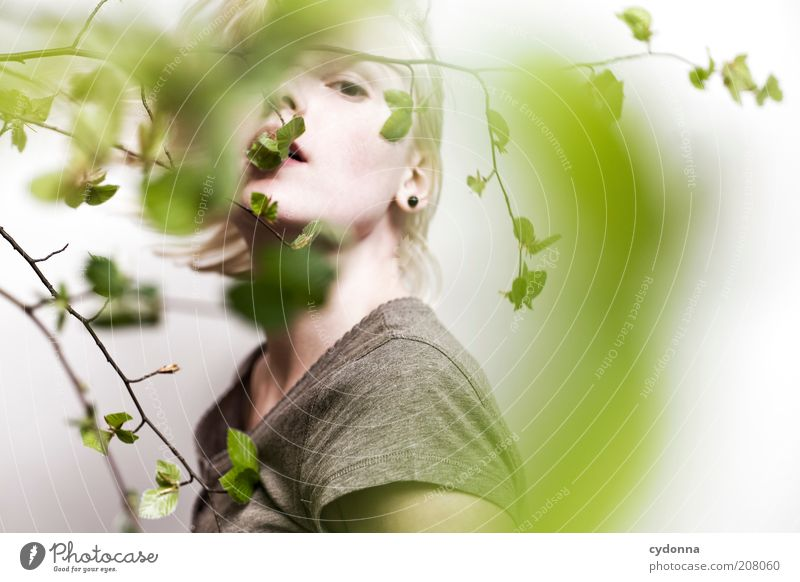 Human being Nature Youth (Young adults) Beautiful Plant Calm Face Relaxation Life Freedom Emotions Style Spring Dream Adults