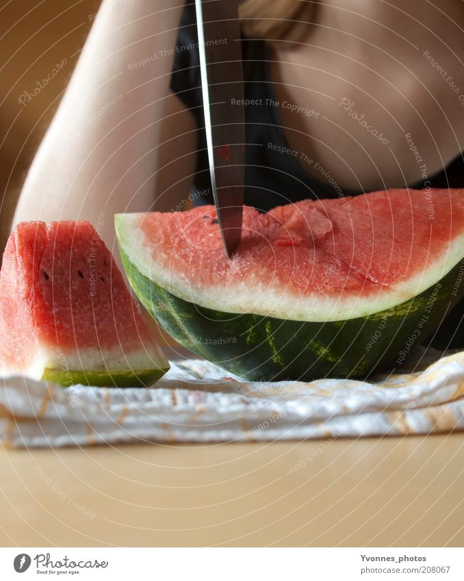 melon Food Fruit Dessert Nutrition Eating Organic produce Vegetarian diet Diet Melon Water melon Fresh Red Knives Cut Delicious Colour photo Woman Low neckline