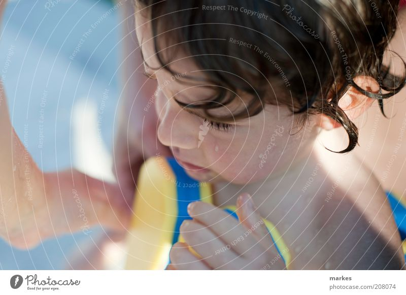 chilled and miffed Human being Child Toddler Boy (child) 1 3 - 8 years Infancy Wet Cute Emotions Cold Blue End Colour photo Exterior shot Day Sunlight