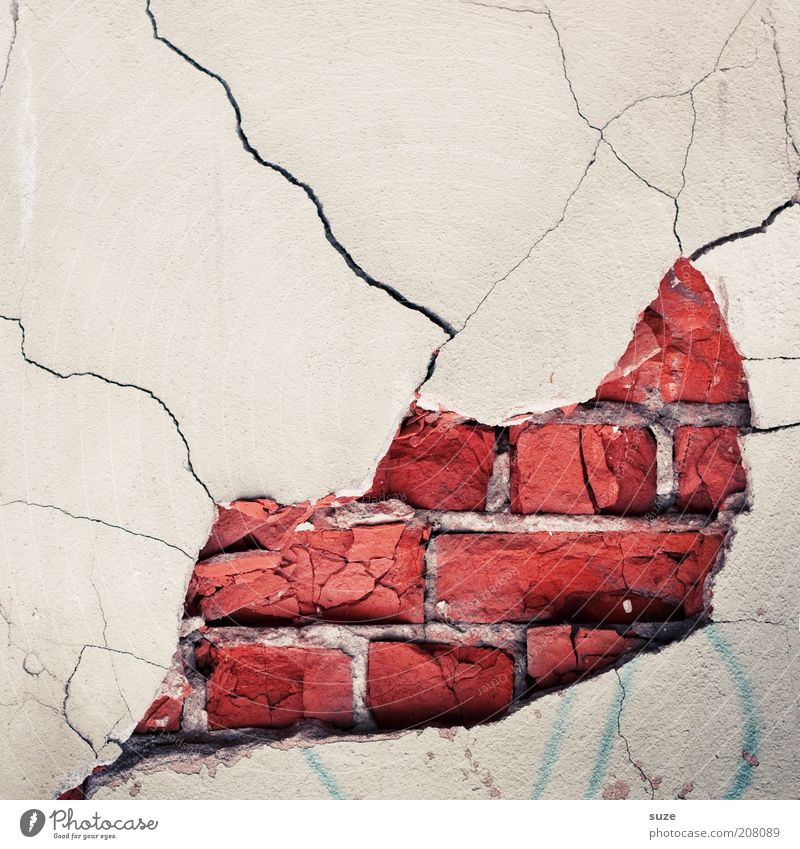 Kiss me Wall (barrier) Wall (building) Facade Brick Old Authentic Dirty Broken Funny Red White Stagnating Decline Dismantling Derelict Crack & Rip & Tear Torn