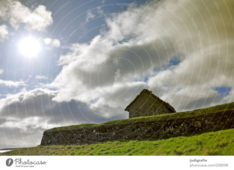 Nature Sky Sun House (Residential Structure) Clouds Loneliness Wall (building) Grass Wall (barrier) Building Landscape Moody Environment Gloomy Roof Uniqueness