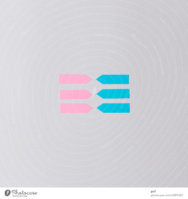 Girls and Boys Meeting To talk Team Paper Piece of paper Sign Signs and labeling Arrow Cliche Blue Pink Sympathy Together Love Infatuation Desire Lust Sex