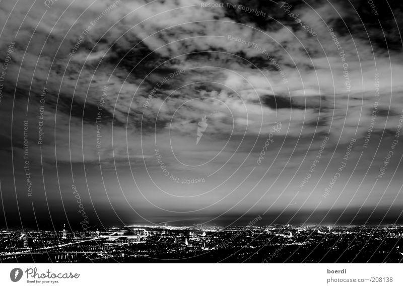 night panorama Vienna Austria Europe Town Capital city Skyline Populated Threat Dark Black Moody Life Night shot City light Night light Cloud cover