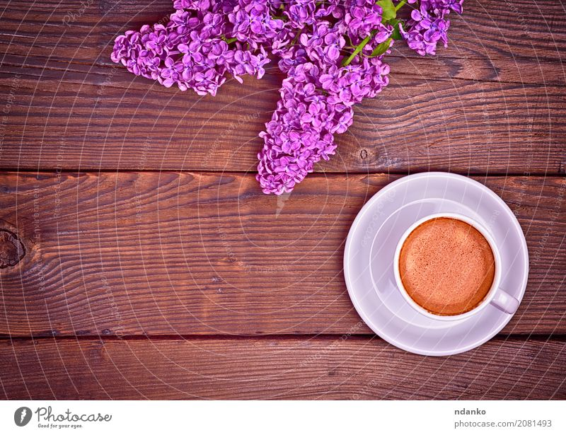 cup of espresso coffee Breakfast Beverage Coffee Espresso Plate Mug Table Restaurant Nature Flower Bouquet Wood Fresh Hot Above Retro Brown White Café Lilac