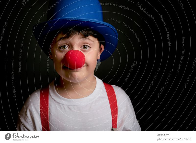 Child with clown nose Human being Joy Lifestyle Funny Boy (child) Laughter Playing Happy Party Feasts & Celebrations Leisure and hobbies Masculine Infancy