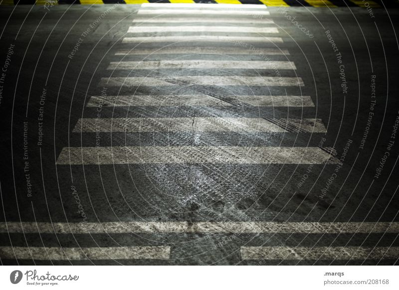Dark Lanes & trails Dirty Road traffic Transport Safety Threat Stripe Traffic infrastructure Striped Intersection Tracks Zebra crossing Skid marks Pedestrian crossing Marker line