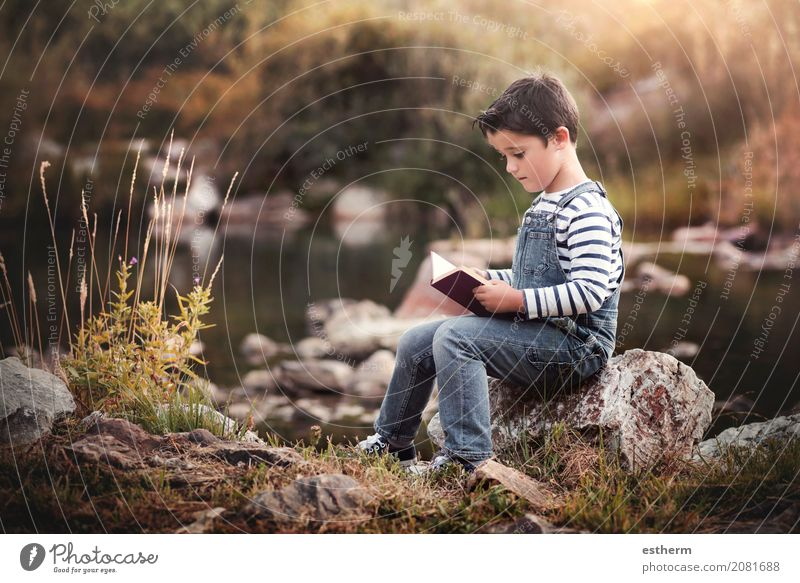 Child sitting reading a book in the field Human being Child Nature Vacation & Travel Summer Calm Lifestyle Spring Autumn Boy (child) Garden Leisure and hobbies Masculine Infancy Sit Happiness