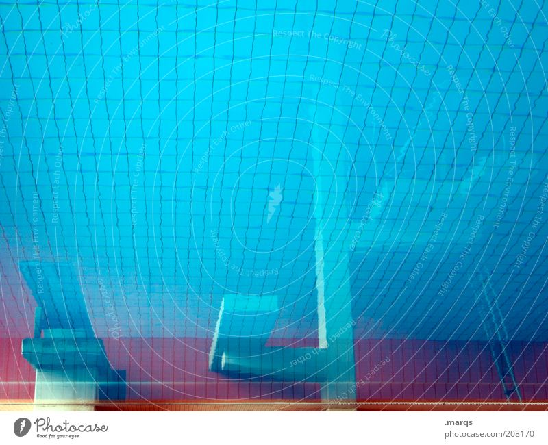 jumper pool Lifestyle Leisure and hobbies Trip Sports Swimming pool Indoor swimming pool Water Blue Springboard Colour photo Abstract Structures and shapes
