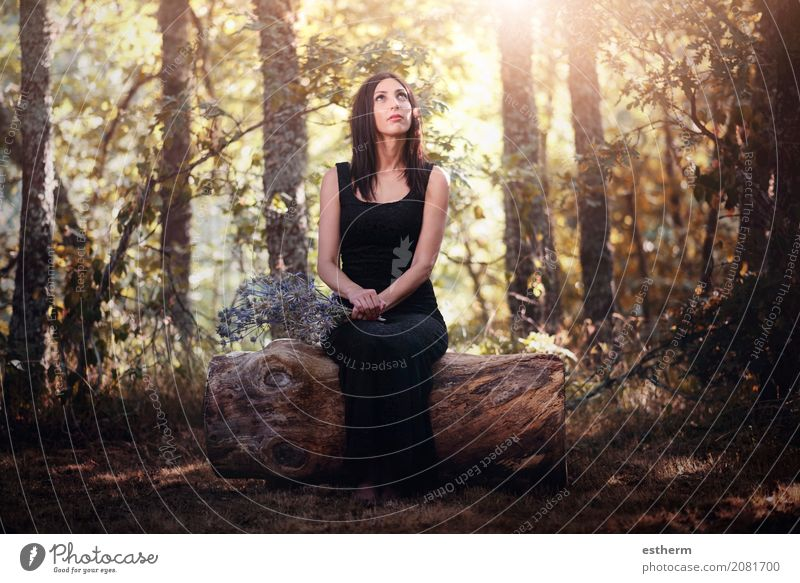 Portrait of pretty Woman sitting in the field Human being Woman Nature Vacation & Travel Youth (Young adults) Young woman Summer Beautiful Relaxation Loneliness Forest Adults Lifestyle Spring Autumn Emotions