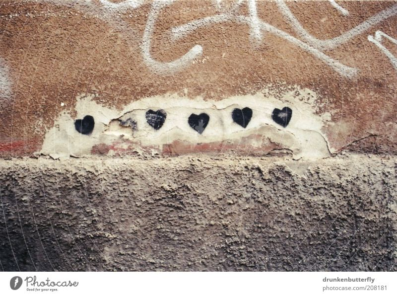 sweetheart Wall (barrier) Wall (building) Stone Concrete Sign Love Gray Black White Emotions Colour photo Subdued colour Exterior shot Deserted Copy Space top