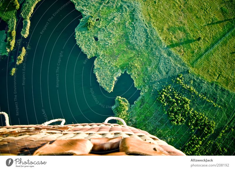 Far-off places Meadow Landscape Above Grass Small Lake Flying Adventure Driving Aerial photograph Beautiful weather Under Lakeside Hot Air Balloon Bird's-eye view