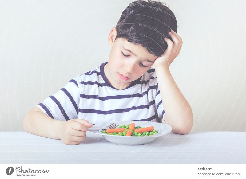 Sad child with a meal Food Vegetable Nutrition Eating Plate Fork Lifestyle House (Residential Structure) Human being Masculine Child Toddler Boy (child) Infancy