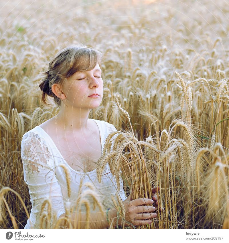 senses Grain Organic produce Happy Harmonious Well-being Contentment Relaxation Calm Fragrance Freedom Summer Human being Feminine Young woman