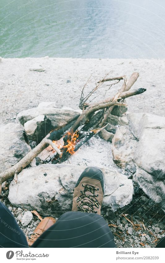 Hiking and grilling Lifestyle Relaxation Vacation & Travel Camping Summer Human being Masculine Man Adults Legs Feet 1 18 - 30 years Youth (Young adults) Nature