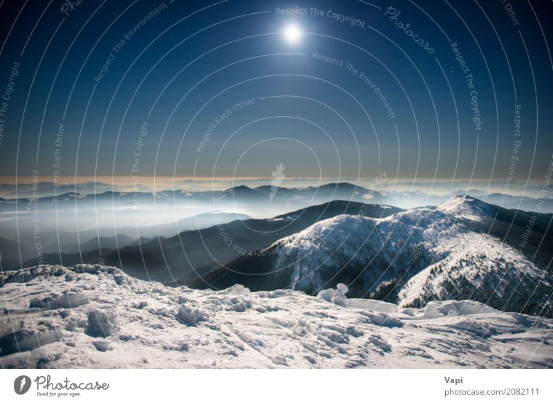 Range of winter mountains in white snow at night Vacation & Travel Tourism Trip Adventure Winter Snow Mountain Nature Landscape Sky Cloudless sky Night sky