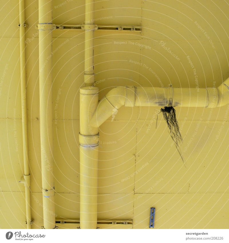 [H 10.1] Well camouflaged. Room Drainpipe Concrete Yellow Colour Perspective Repair Junction Heating pipe Darning Ceiling Conduit Hang Repaired Colour photo