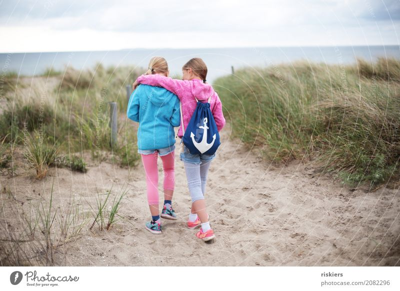 beach walk Human being Feminine Girl Brothers and sisters Sister Family & Relations Infancy 2 Environment Nature Beach Baltic Sea Discover Relaxation Going