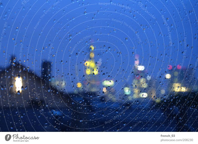 Blue City Yellow Cold Autumn Emotions Window Rain Moody Drops of water Wet High-rise Empty Future Bank building Financial institution