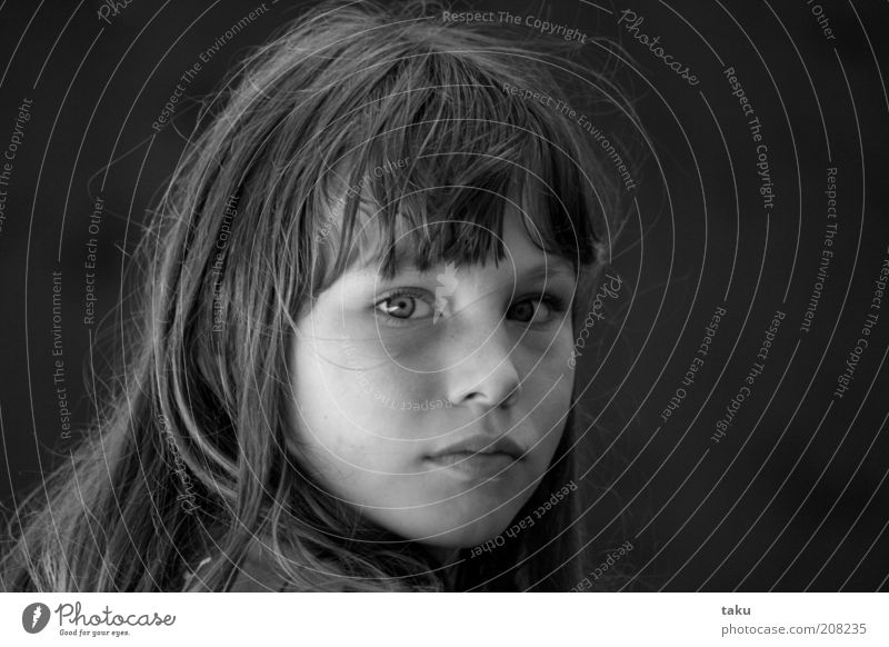 Girl Beautiful Face Calm Eroticism Longing Long-haired Smart Child Human being Black & white photo Portrait photograph