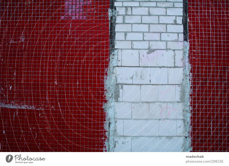 pixel error Wall (barrier) Wall (building) Facade Old Hideous Broken Trashy Gloomy Red White Chaos Uniqueness Tile Colour photo Subdued colour Multicoloured