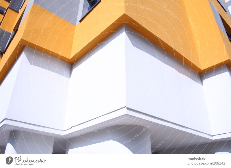 White Colour Wall (building) Architecture Style Building Wall (barrier) Orange Elegant Flat (apartment) Facade Arrangement Design Modern High-rise Large