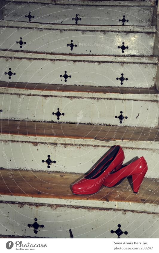 red Lifestyle Style Design Exotic Stairs Fashion Clothing Footwear High heels Dirty Crazy Trashy Red Loneliness Interior shot Deserted Flash photo Contrast