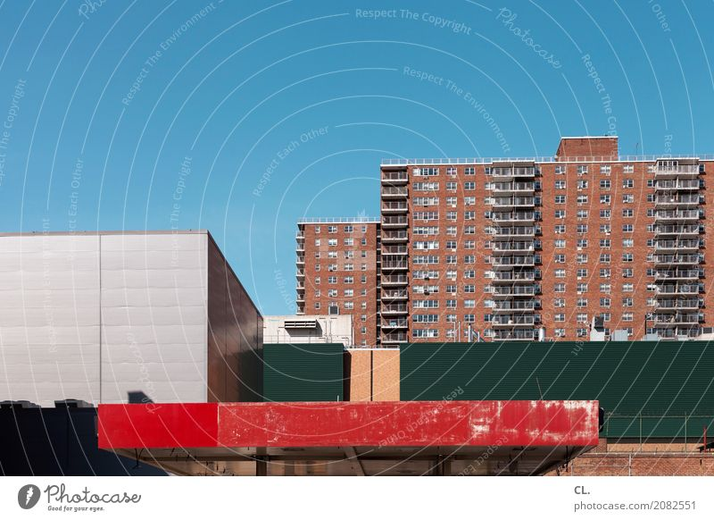 Sky Town House (Residential Structure) Architecture Wall (building) Building Wall (barrier) Facade High-rise USA Beautiful weather Cloudless sky City trip New York City