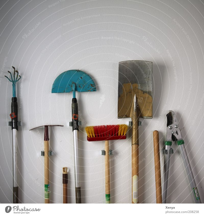 Off to the garden Gardening Tool Broom Work and employment Gardening equipment Hoe Spade Hedge shears Broomstick Rake Neutral Background White Lean Colour photo