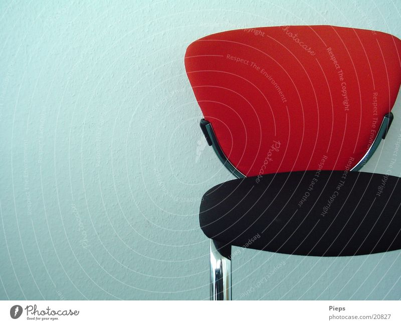 forsake sb./sth. Colour photo Interior shot Interior design Furniture Chair Meeting Work and employment Sit Wait Red Black Loneliness Calm Wall (building) Empty