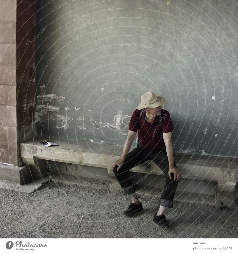 The man with the straw hat Man hikers Sit rest Observe Calm free time Relaxation Time Contentment Break Bench Straw hat Meditative Gloomy Looking away